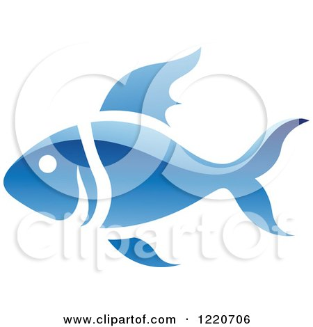 Clipart of a Reflective Blue Fish - Royalty Free Vector Illustration by cidepix