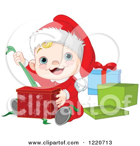 Clipart of a Happy Caucasian Baby Boy Opening Christmas Presents - Royalty Free Vector Illustration by Pushkin