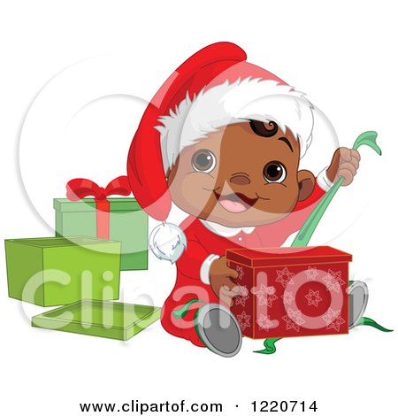 Happy African American Baby Boy Opening Christmas Presents Posters, Art Prints