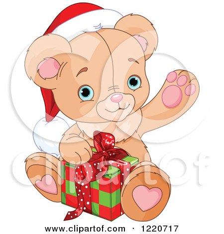 Clipart of a Cute Christmas Teddy Bear Waving and Opening a Present - Royalty Free Vector Illustration by Pushkin