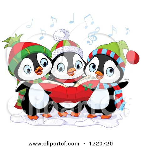 Clipart of a Trio of Cute Penguins Singing Christmas Carols - Royalty Free Vector Illustration by Pushkin