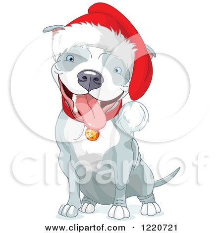 Clipart of a Cute Gray and White Christmas Pit Bull Wearing a Santa Hat and Sitting - Royalty Free Vector Illustration by Pushkin