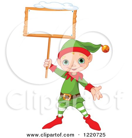 Clipart of a Cute Christmas Elf Holding up a Snowy Sign - Royalty Free Vector Illustration by Pushkin