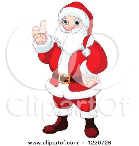 Clipart of Santa Holding a Thumb up for Christmas - Royalty Free Vector Illustration by Pushkin