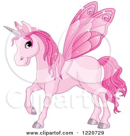 Clipart of a Magical Pink Fairy Unicorn Horse with Wings - Royalty Free Vector Illustration by Pushkin