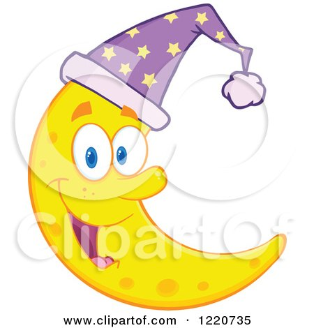 Orange Crescent Moon Clipart Happy crescent moon mascot Orange Moon Clipart