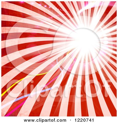 Clipart of Retro Red Rays with Light Flares - Royalty Free Illustration by Arena Creative