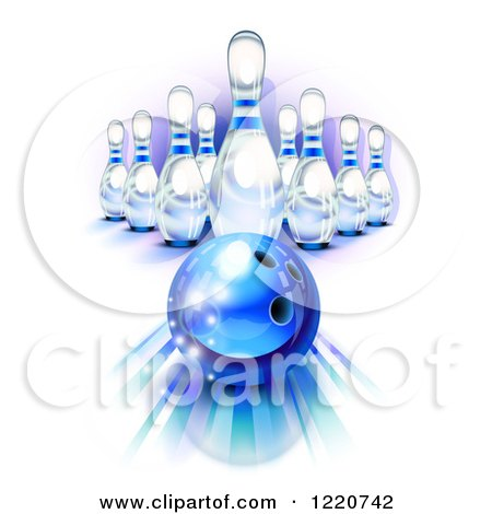 Clipart of a Blue Bowling Ball Rolling Towards Pins - Royalty Free Vector Illustration by Oligo