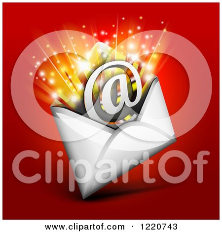Clipart of an Arobase at Email Symbol Bursting out of an Envelope, over Red - Royalty Free Vector Illustration by Oligo