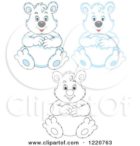 Clipart of Outlined and Colored Sitting Chubby Polar Bears - Royalty Free Vector Illustration by Alex Bannykh