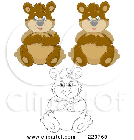 Clipart of Outlined and Colored Sitting Chubby Bears - Royalty Free Vector Illustration by Alex Bannykh