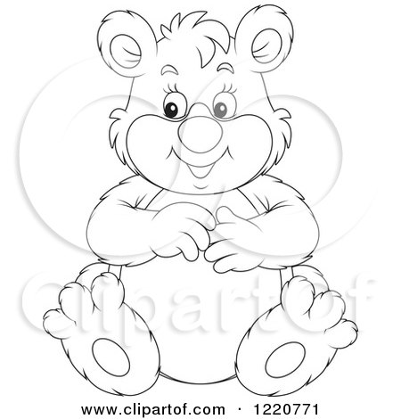 Clipart of an Outlined Sitting Chubby Bear - Royalty Free Vector Illustration by Alex Bannykh