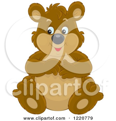 Clipart of a Sitting Chubby Brown Bear Cub - Royalty Free Vector Illustration by Alex Bannykh