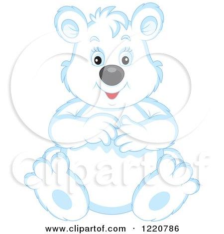 Clipart of a Sitting Chubby Polar Bear Cub - Royalty Free Vector Illustration by Alex Bannykh