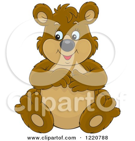 Clipart of a Sitting Chubby Brown Bear - Royalty Free Vector Illustration by Alex Bannykh