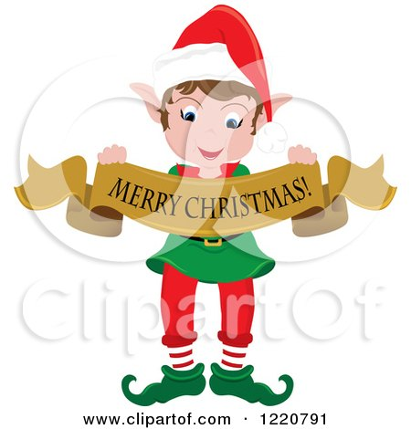 Clipart of a Happy Christmas Elf with a Merry Christmas Banner - Royalty Free Vector Illustration by Pams Clipart