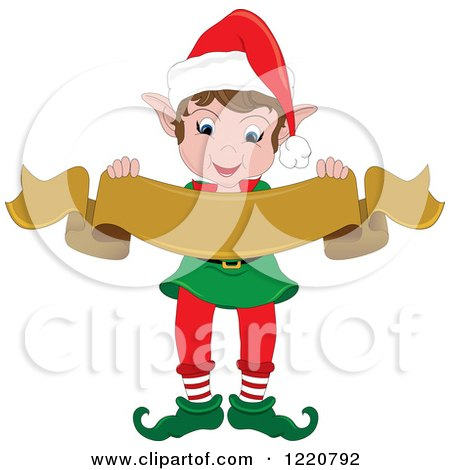 Clipart of a Happy Christmas Elf Holding a Blank Scroll Banner - Royalty Free Vector Illustration by Pams Clipart