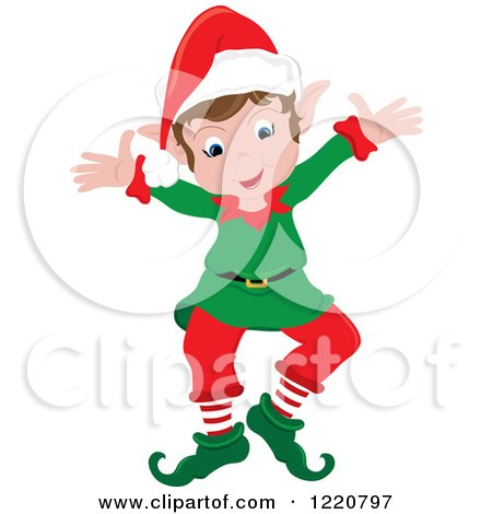 Clipart of a Welcoming Christmas Elf with Open Arms - Royalty Free Vector Illustration by Pams Clipart