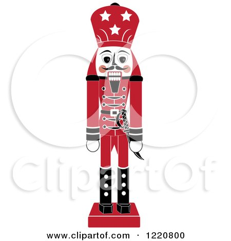 Clipart of a Red Wooden Christmas Nutcracker - Royalty Free Vector Illustration by Pams Clipart