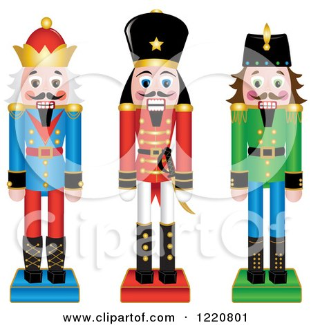 Clipart of Three Wooden Christmas Nutcrackers - Royalty Free Vector Illustration by Pams Clipart