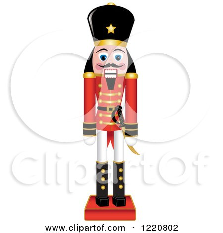 Clipart of a Wooden Christmas Nutcracker - Royalty Free Vector Illustration by Pams Clipart