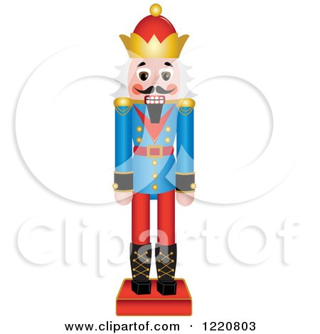 Clipart of a Wooden Christmas Nutcracker with White Hair - Royalty Free Vector Illustration by Pams Clipart