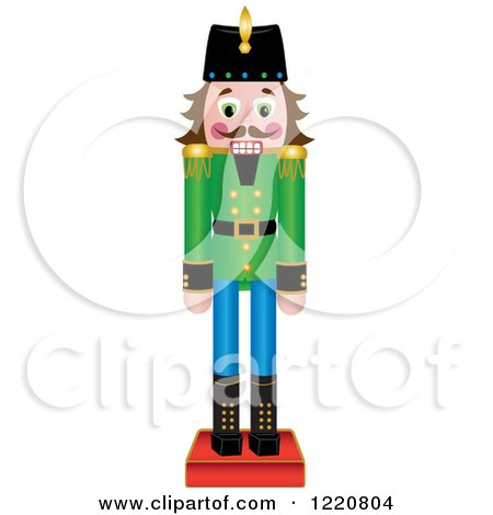 Clipart of a Brunette Wooden Christmas Nutcracker - Royalty Free Vector Illustration by Pams Clipart