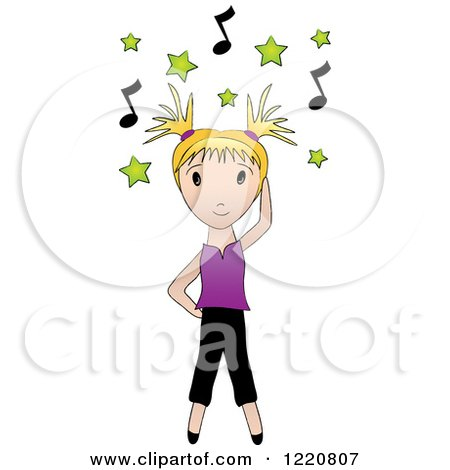 Clipart of a Blond Girl Dancing Under Green Stars and Music Notes - Royalty Free Vector Illustration by Pams Clipart