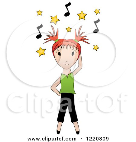 Clipart of a Red Haired Girl Dancing Under Yellow Stars and Music Notes - Royalty Free Vector Illustration by Pams Clipart