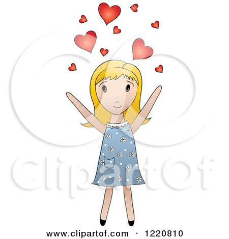 Clipart of a Cute Blond Girl Tossing Hearts into the Air - Royalty Free Vector Illustration by Pams Clipart