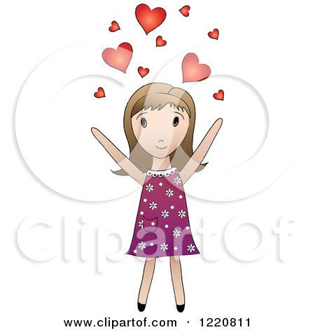 Clipart of a Cute Brunette Girl Tossing Hearts into the Air - Royalty Free Vector Illustration by Pams Clipart