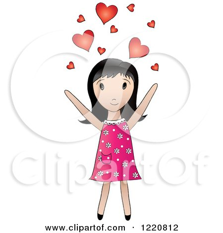 Clipart of a Cute Black Haired Girl Tossing Hearts into the Air - Royalty Free Vector Illustration by Pams Clipart