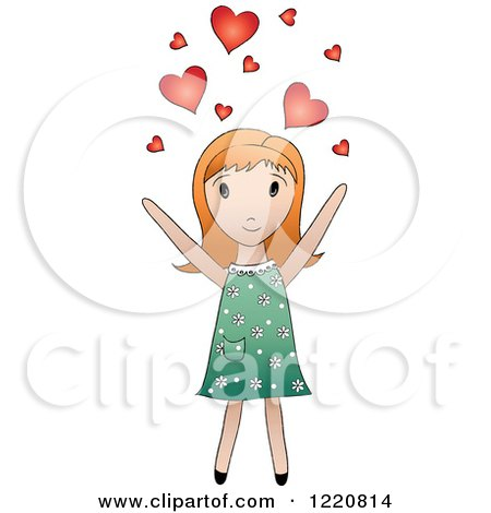 Clipart of a Cute Red Haired Girl Tossing Hearts into the Air - Royalty Free Vector Illustration by Pams Clipart