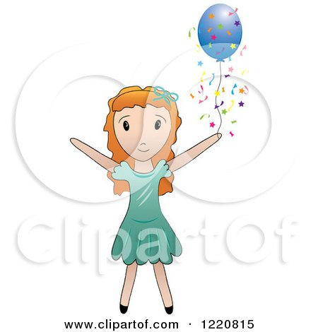 Clipart of a Red Haired Girl with a Blue Party Balloon and Confetti - Royalty Free Vector Illustration by Pams Clipart