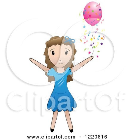 Clipart of a Brunette Girl with a Pink Party Balloon and Confetti - Royalty Free Vector Illustration by Pams Clipart