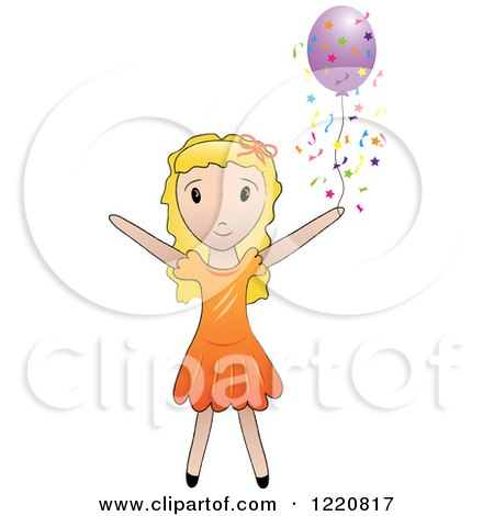 Clipart of a Blond Girl with a Purple Party Balloon and Confetti - Royalty Free Vector Illustration by Pams Clipart