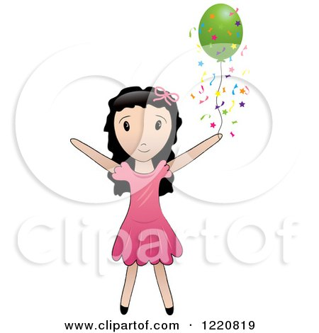 Clipart of a Black Haired Girl with a Green Party Balloon and Confetti - Royalty Free Vector Illustration by Pams Clipart