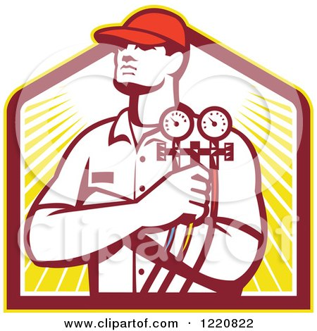 Clipart of a Retro Refrigeration Mechanic Worker Holding a Pressure Gauge over a Shield of Sunshine - Royalty Free Vector Illustration by patrimonio