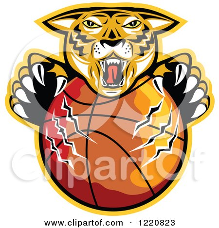 Clipart of a Furious Tiger Clawing a Basketball with a Yellow Outline - Royalty Free Vector Illustration by patrimonio
