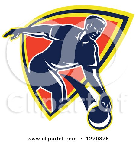 Clipart of a Retro Man Bowling and Emerging from a Shield - Royalty Free Vector Illustration by patrimonio