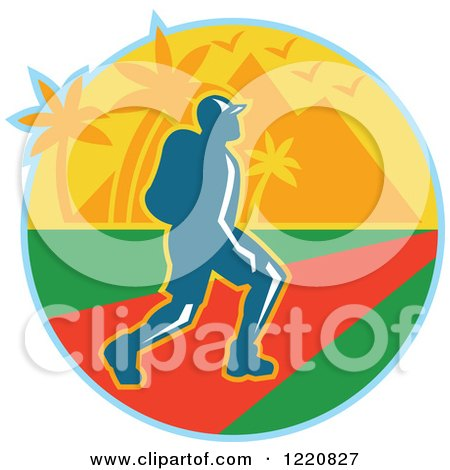 Clipart of a Male Hiker with Tropical Palm Trees and Mountains - Royalty Free Vector Illustration by patrimonio