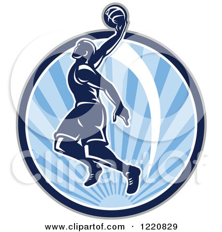 Clipart of a Retro Basketball Player Jumping for a Slam Dunk over a Circle of Blue Sunshine - Royalty Free Vector Illustration by patrimonio