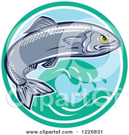 Clipart of an Aggressive Sardine Fish Jumping over Waves in a Circle - Royalty Free Vector Illustration by patrimonio
