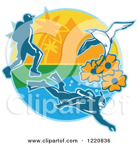 Clipart of a Hiker Scuba Diver and Red Billed Tropicbird with Black Eyed Susan Flowers on an Island - Royalty Free Vector Illustration by patrimonio