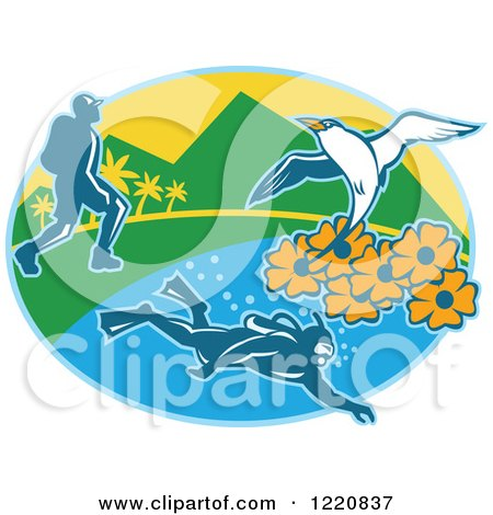 Clipart of a Hiker Scuba Diver and Red Billed Tropicbird with Black Eyed Susan Flowers on an Island in an Oval - Royalty Free Vector Illustration by patrimonio