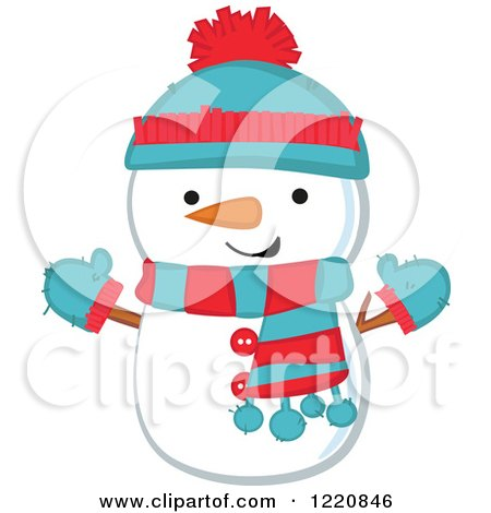 Clipart of a Cute Christmas Snowman Wearing a Hat Mittens and Scarf - Royalty Free Vector Illustration by peachidesigns