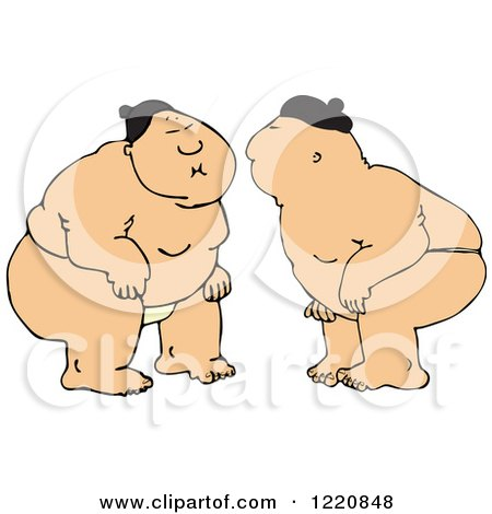 Clipart of Sumo Wrestlers Facing Each Other - Royalty Free Vector Illustration by djart