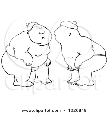 Clipart of Outlined Sumo Wrestlers Facing Each Other - Royalty Free Vector Illustration by djart