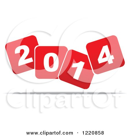 Clipart of Red and White Floating New Year 2014 Squares - Royalty Free Vector Illustration by Andrei Marincas
