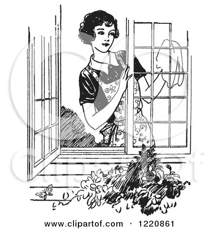 Clipart of a Black and White Retro Woman Washing Windows - Royalty Free Vector Illustration by Picsburg